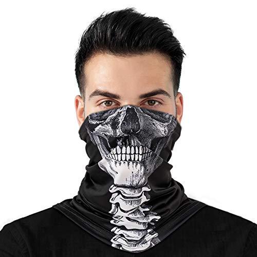 Zozgetu Halstuch, Multifunktionstuch Herren Damen Schlauchschal, Motorrad Bandana 3D Druck Halloween Faceshield Mundschutz Tuch