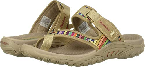 Skechers Women's Reggae-MAD Swag-Toe Thong Woven Sandal, Dark Natural, 6 M US