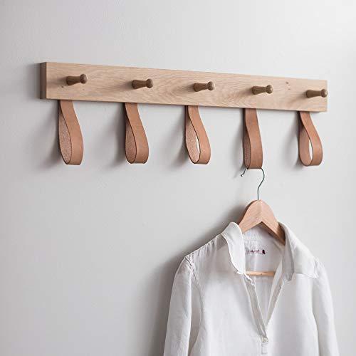 CKB LTD Percha de roble crudo y cuero con 5 clavijas para pasillo o dormitorio, para colgar en la pared, para abrigos, sombreros, bufandas, llaveros, gancho grande de 20 x 75 x 6,5 cm