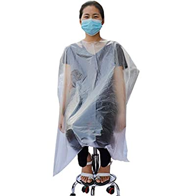 Disposable Capes Hair Salon, Plastic Waterproof Disposable Barber cape, suitable for Cutting/Coloring/Perming