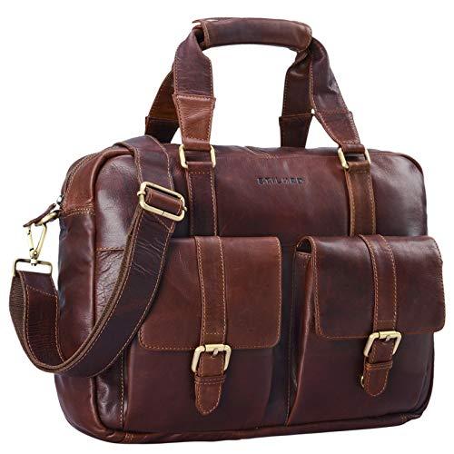 STILORD 'Vitus' lederen tas mannen vrouwen bruin draagbaar als een vintage schoudertas grote handtas met 15,6 inch laptop compartiment aktetas, Kleur:cognac - donkerbruin