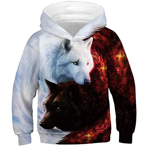 Kids4ever Unisex 3D Wolf Print Hoodies Fantastic Pullover Jumpers Hoody Sportwear Long Sleeve Sweatshirt Hooded with Pockets for Child 8-11 Years