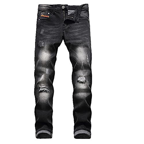 N\P Pantalones vaqueros de los hombres Slim-fit Jeans cremallera pierna recta pantalones vaqueros caballeros negro agujero jeans hombres