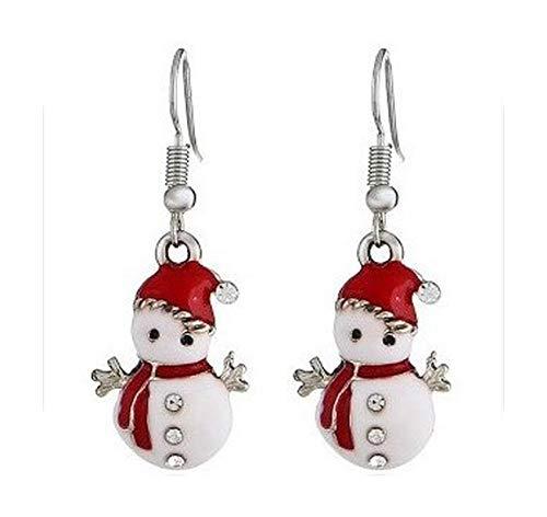 Pendientes de Navidad, diseño animado, muñeco de nieve para hombre, corona de émbolo para primavera, árbol de Navidad