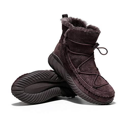 MNSSRN-MM Nuevos zapatos de algodón de invierno, calidez de tubo corto de temperamento de moda y zapatos de algodón de lana de suela gruesa de terciopelo,Marrón,37