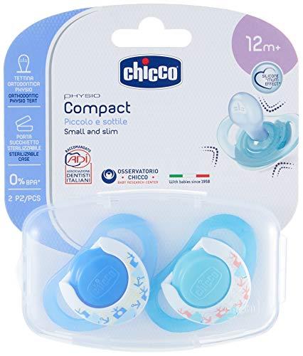 Chicco Physio Compact in Silicone, Ciuccio per Bimbo, 16-36 mesi, 2 Pezzi, Colori Assortiti