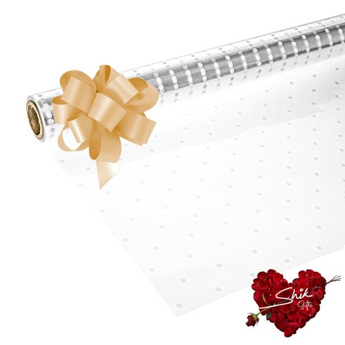 Clear Cellophane Gift Wrap 80cm with 50mm Pull Bow /& 3m Curling Ribbon
