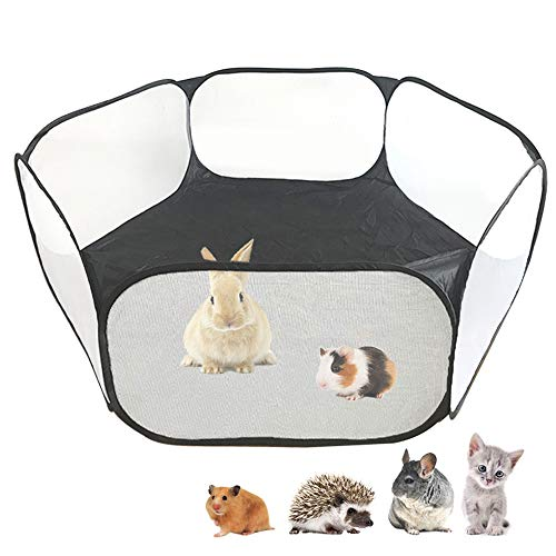 Small Animals C&C Cage Tent, Breathable & Transparent Pet Playpen Pop Open Outdoor/Indoor Exercise Fence, Portable Yard Fence for Guinea Pig, Rabbits, Hamster, Chinchillas and Hedgehogs (Black)