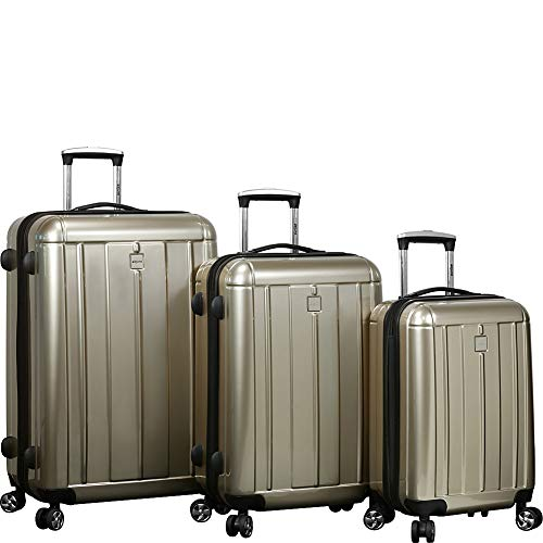 Dejuno Contour 3-piece Hardside Spinner Luggage Set with TSA Lock, Champagne, One Size