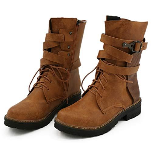 Anliyou Ankle Boots Damen PU Stiefel mit Absatz Stiefelette Colorblock Lederstiefel Übergangsschuhe mit Reisverschluß Schnalle Schnürstiefel Freizeitsschuhe Arbeitsschuhe