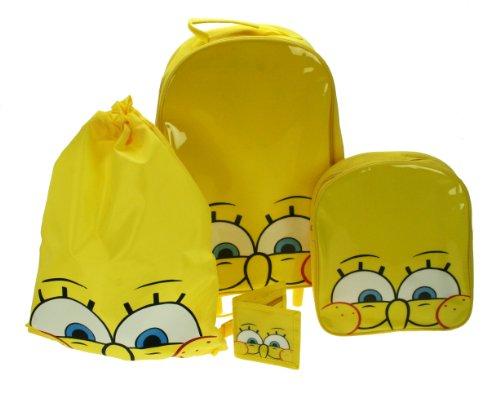 SpongeBob 4 tlg. Reiseset Schulset Schwammkopf Trolley + Rucksack + Turnbeutel + Geldbörse EDEL