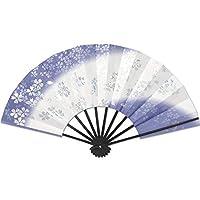 舞扇子 9寸5分 黒塗竹 天地褄ボカシ銀桜 京舞台 (紫)