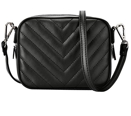 CARM AXKO Luxury Crossbody Shoulder Bag Quilted with Zipper for Women(Vera Black Knight)