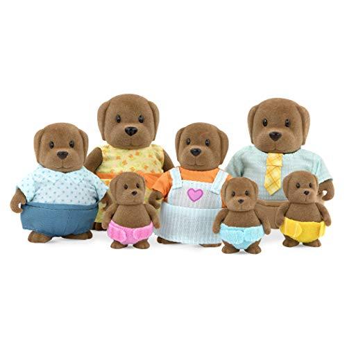 Li'l Woodzeez Hunde Tierfamilie – 7 weiche Tierfiguren mit Eltern, Kinder, Babys – auch als Adventskalender Füllung, Spielzeug Tiere Set (7 Teile) Spielzeug für Kinder ab 3 Jahren