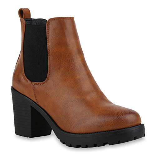 Booties Damen Stiefeletten Plateau Chelsea Boots Plateau Blockabsatz Leder-Optik Glitzer Schuhe...