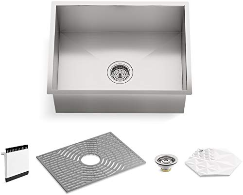 "Kohler K-20023-PC-NA STERLING Ludington 24"" Under-Mount Single-Bowl Kitchen Sink with Accessories, Medium Basin, Stainless Steel"