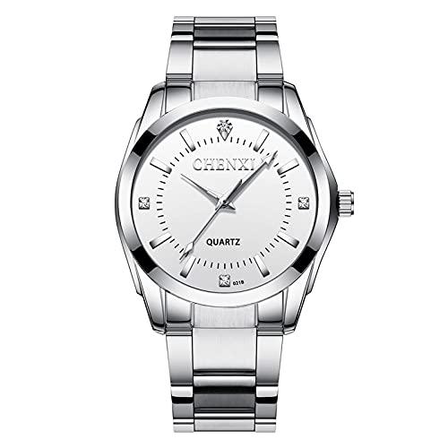 aimuzi Pareja Reloj Reloj Dual Zona horaria Negocio Reloj de Rhinestone Moda Cuarzo Vestido de Mujer Impermeable Acero Inoxidable Relojes de Pulsera,Male White