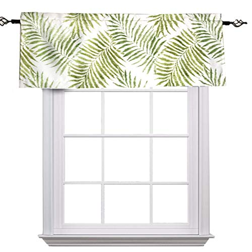 "MYRU Pastoral Leaves Tropical Valance for Windows,Valance Leaf Pattern (Valance 54"" W x 18"" L, Green Leaves)"