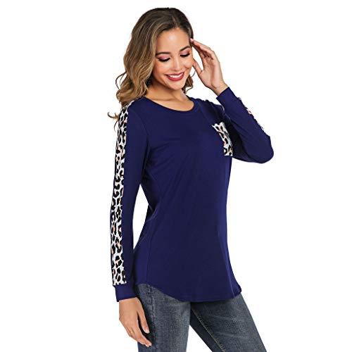 TEFIIR Damen T-Shirt Leopardenmuster Farbig Bedruckte Tasche Langärmliges Lässiges Rundhals Lose Tops Geeignet für Freizeit, Urlaub und Dating