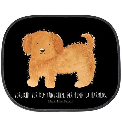 Mr. & Mrs. Panda Auto, Rücksitz, Auto Sonnenschutz Hund flauschig mit Spruch - Farbe Schwarz
