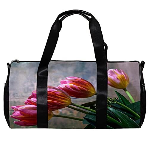 Seesack für Damen und Herren, Frühlingsblumen-Motiv, rote Tulpen, Sport, Fitnessstudio, Tragetasche, Wochenende, Übernachtung, Reisetasche, Outdoor-Gepäck, Handtasche