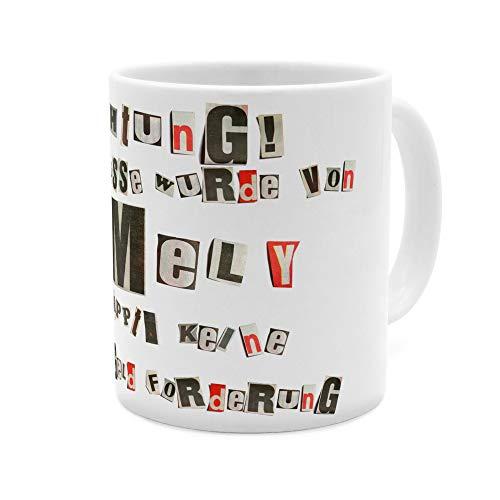 printplanet Tasse mit Namen Emely - Motiv Ausgeschnittene Buchstaben - Namenstasse, Kaffeebecher, Mug, Becher, Kaffeetasse - Farbe Weiß