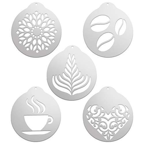 Yumi V Kaffee Cappuccino Schablonen 5 Stück Edelstahl Schablonen Barista Cappuccino Kunst Vorlagen Kaffee Girlande Form Kuchen Dekorieren Werkzeug