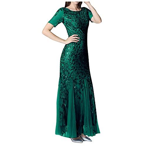 Smooto Maxi Dresses Silk Slip Maxi Dress for Wedding Guest Women Summer Tie Dye Cocktail Split Midi Dresses Cowl Neck Sexy Long Dress Mermaid Dress for Girls (Green 1,S)