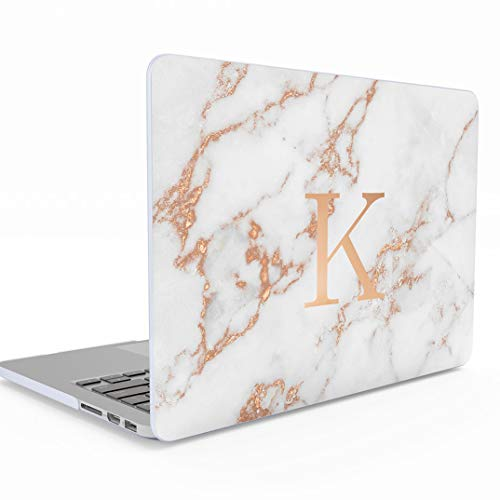 Funda Personalizada Gris Oro Marmol Custom Personal Rose Gold Initials and Marble Print Macbook Air 13 Pulgadas Release 2018-2019 Modelo: A1932...