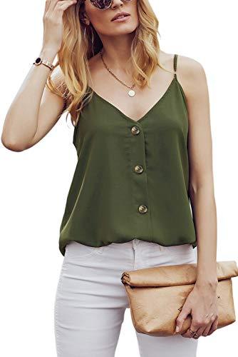 "Ancapelion Damen Sommer Bluse à""rmellose Chiffon Top V-Ausschnitt Shirt Elegant Weste Hemdbluse Loose fit T Shirt mit Trägern, Grün, XL(EU 46-48)"