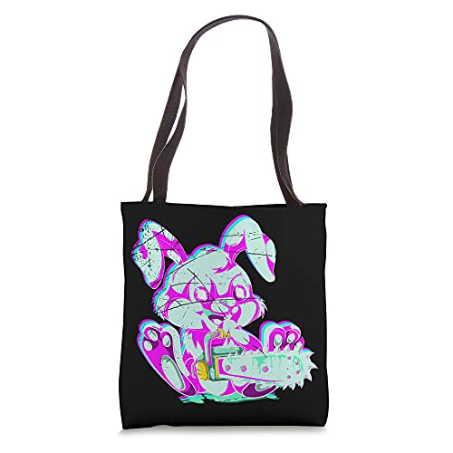 Chainsaw Vaporwave Aesthetic Scary Animal Spooky Rabbit Tote Bag