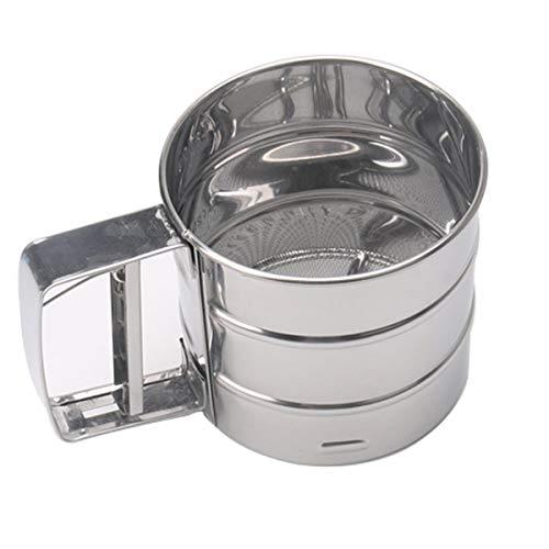 Tamiz de harina de Acero Inoxidable,Liwein Tamizador de Harina Manual Tamiz de Cocina con Mango Tamiz de Mano de Acero Inoxidable para Hornear Pastelería Herramienta(Plata)