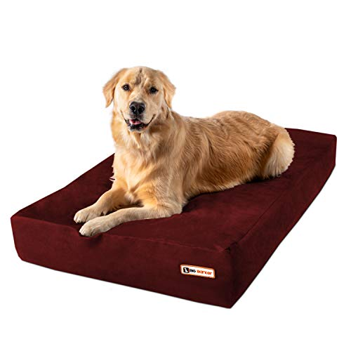 """Big Barker 7"""" Pillow Top Orthopedic Dog Bed for Large and Extra Large Breed Dogs (Sleek Edition) (Large (48 x 30 x 7), Burgundy)"""