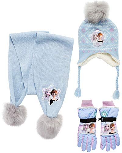 Disney Girls' Insulated Snow Glove Set – Minnie Mouse or Frozen Winter Hat, Scarf, and Mitten or Gloves (Toddler/Little Kid), Size Age 4-7, Froze Glove