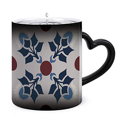 Mosaico floral Patrón azul marino mediterráneo Tazas morphing de 11 oz Taza sensible al calor Taza de té de café que cambia de color de cerámica ndash Modelo49729