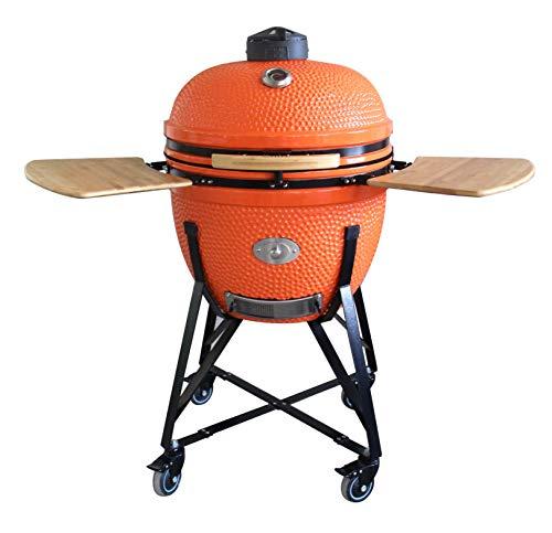 "YNNI KAMADO TQTV23OR XL 23"" Grill, ORANGE, Chipfeeder, Bundle, BBQ, Ceramic, Egg, Smoker, TQTV23OR"