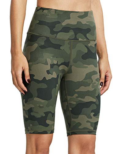 ZUTY Biker Shorts for Women High Waisted with 2 Hidden Pockets Workout Athletic Running Yoga Long Shorts Army Green Camo 3XL