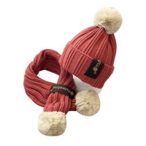 WFF Sombrero Cálido Invierno Sombreros del bebé Muchachas de los Muchachos de la Bufanda Gruesa Set del niño Gorros Pompón Infante Gorro de Lana Caps Gorro de puntogorra (Color : Wine Red)