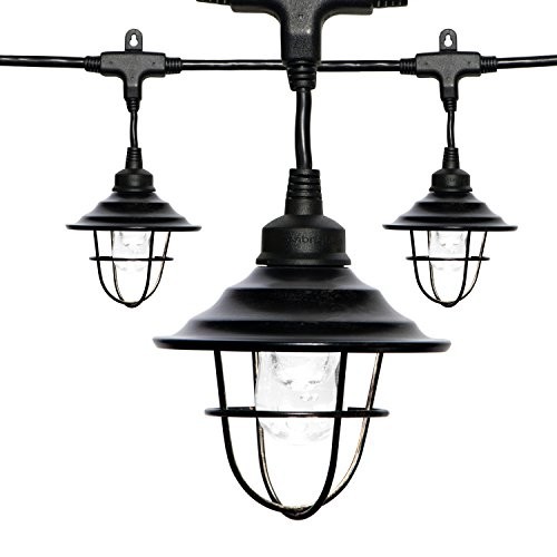 Enbrighten Classic LED Café String Lights with Oil-Rubbed Bronze Lens Shade, Black, 36ft, 18 Impact Resistant Lifetime Bulbs, Premium, Shatterproof, Weatherproof, Indoor/Outdoor, UL Listed, 43363