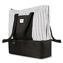 A cool white and black tote purse with medium size main compartment and bottom lunch compartment
