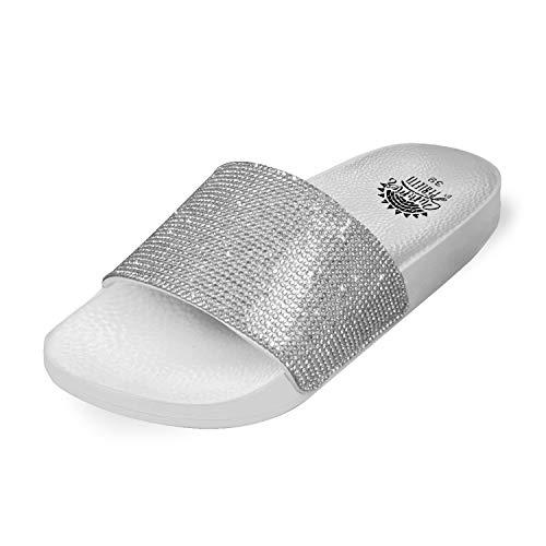 PERLETTI Pantoletten Damen Glitzer Silber - rutschfeste Badelatschen Schwarz Pink Weiß - Badeschuhe Schlappen Frauen Elegant - Hausschuhe Mädchen Sommer Bequem Laufkomfort (Weiß, Numeric_39)