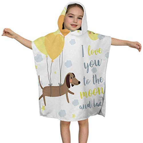 Ahuimin Kids Hooded Beach Bath Towel, Cute Dog with Balloons and Hearts Sun Clouds Puppy Baby Best Friends, 24 x 24 Inches Hooded Bath Towel for Girls Boys, Children's Bathrobe