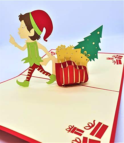 BC Worldwide Ltd Tarjeta de Navidad emergente 3D hecha a mano Feliz Navidad Elf bolsa de regalo árbol holly origami vintage saludos regalos decoraciones