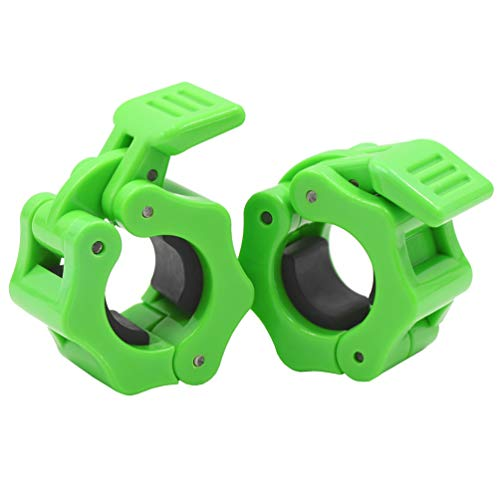 IADUMO Quick Release Barbell Collars Weight Clips Safety Plate Clamps 1 Inch Pair Standard Deadlift Curl Bar Fast Locking Weightlifting Bar Grips,Strength Training/Gym Home (Green).