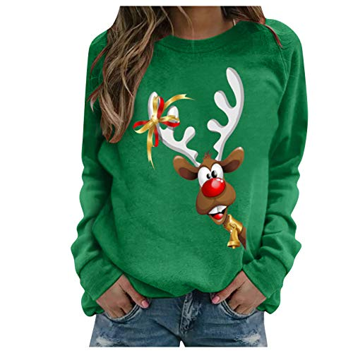 Sauahy Womens Tops for Ladies Chirstmas Print Pullovers Long-Sleeved O Neck Sweatshirts Casual Loose Blouses Green
