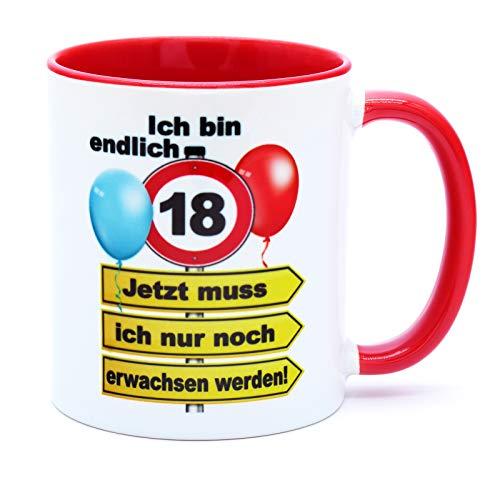 Ich bin endlich 18 Jetzt muss ich nur noch erwachsen werden Tasse Becher Kaffeebecher Kaffeetasse Geschenk zum Geburtstag Geburtstagsgeschenk für Mädchen Junge Tochter Sohn Geburtstagsdeko Deko Kumpel