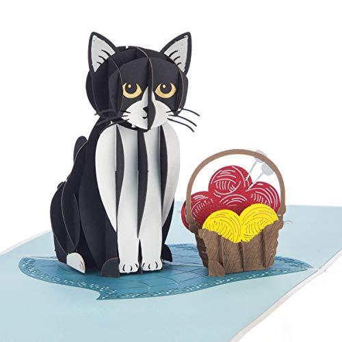 Tuxedo Kat 3D Verjaardagskaart - Kat Pop Up Kaart, 3D Cadeau voor Kat Liefhebbers | 15 x 15cm | Handgemaakte Kaarten door Cardology