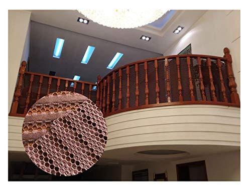 Balcón Red De Protección Red de Seguridad for Escaleras for Niños, Red de Valla de Jardín Al Aire Libre, Red de Valla de Balcón Interior, Decoración de Jardín de Infantes Red de Cuerda Trenzada, Marró