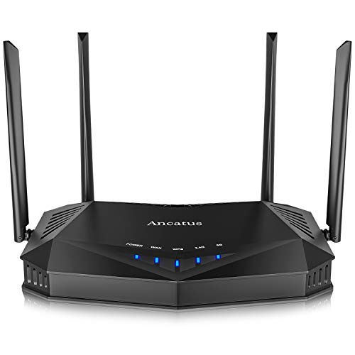 Ancatus-WiFi 6 Router AX1800, Dual Band 1.8G WiFi Router, Gigabit Computer Routers, MU-MIMO OFDMA Wireless Router, 802.11ax Ethernet Internet Router, 2100 sq.ft. WPA3, 5Ghz, Firewall, USB, Dos