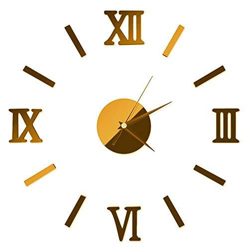 aifengxiandonglingbaihuo Interior de Bricolaje Moderno Reloj de Pared Romano Reloj de Pared Pegatina 3D Efecto de Espejo casero 4 Estilos Pegatinas de Pared 3D, Oro, Estados Unidos